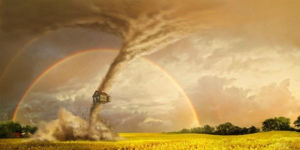 Catastrophes: Tornado. Living in good and unity is more natural and simple